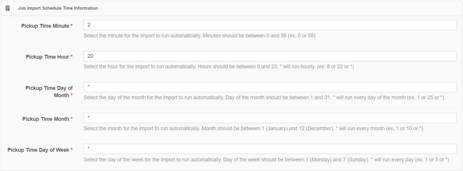 Job Import Schedule Time Information