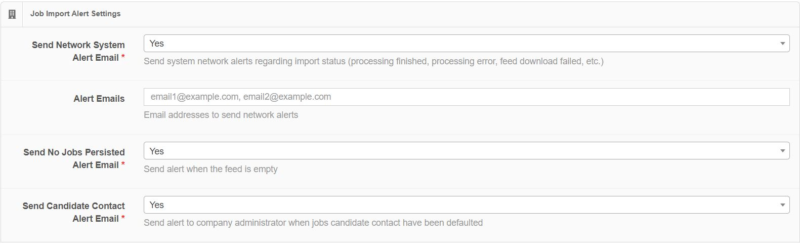 Job Import Alert Settings