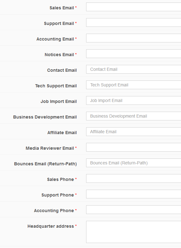 Site Settings_Emails Phone Numbers Address
